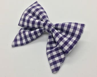 Dark Purple Gingham Mini Sailor Bow