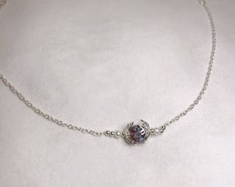 Dainty Floral   Silver Necklace