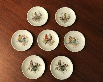 Set of 7 Porcelain Bird Coasters Plates Made in Occupied Japan