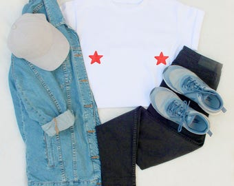 Embroidered patches star embroidery small breasts boobs tee t-shirt t shirt tshirt