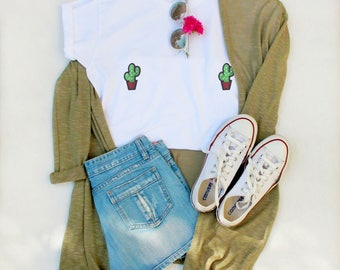 Embroidered patches cactus embroidery tits breasts, boobs tee shirt t shirt tshirt