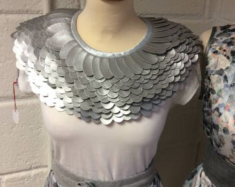 Silver Pleather Statement Neckpiece
