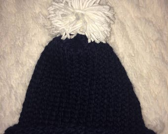 Navy wool/acrylic knit hat, adult sized