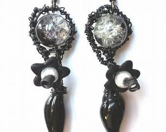 earrings, pair of earrings, glass beads, spun glass