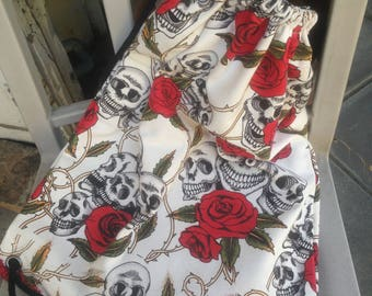 Old school roses and skull bags
