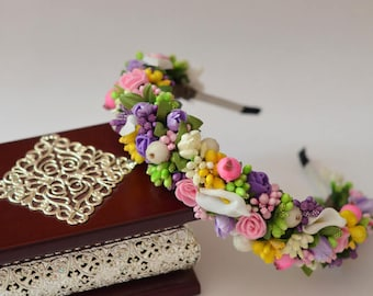 Flower tiara, Haircrown, wedding hair accessories