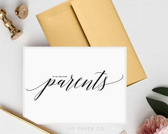 To My Parents   To my In laws   To my Parents on our wedding day   Wedding Day Cards   Wedding Greeting Cards   Wedding Notecards