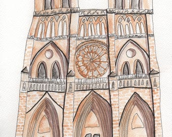 Notre Dame // Quirky Watercolour Print // Paris, France