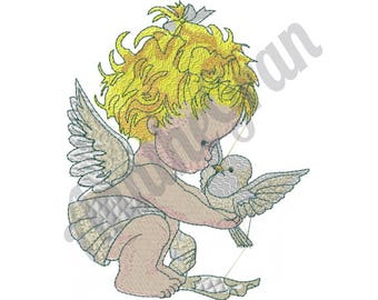 Baby Angel Embroidery Design, Bird Embroidery
