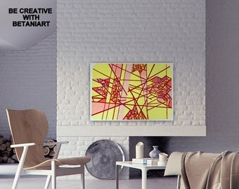ORIGINAL Abstract Painting CONTEMPORARY Art Wall Hanging Livingroom Decor Modern Art Home Decor Gouache Tempera Painting Red Yellow