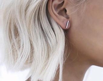 Punk Black Gold Silver Earrings Simple T Bar Earring Women Girl Ear Stud Fine Jewelry Brincos Bijoux Femme jewellery tag earrings