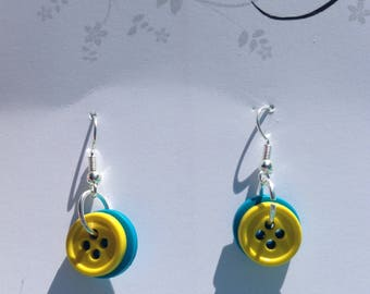 Blue and Yellow Button Dangle Earrings Nickel Free