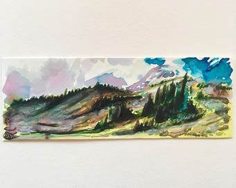 Original Tiny Watercolor Painting of Mount Rainier Mountain and Glacier Landscape in Washington