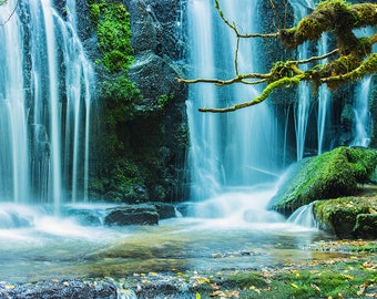 Waterfall, Photography, Water, Digital photography, Instant download, Wall art, Aqua, Green, Nature, Photo, Home decor, Art, Tree, Moss,Leaf