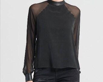 Black Women Top/Black Long Sleeves Loose Blouse/Black Tunic