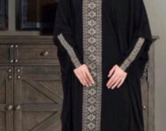 Batwing Abaya Jersey Maxi Prayer dress Embroidered Isdal with hijab Dubai style