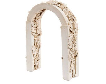 """Wood and Leaf Arch with Ivy, 4"""" X 4.75"""" - Resin - Miniature Fairy Garden Dollhouse"""