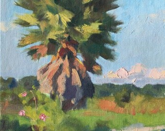 Bright Sunlit Palm Impressionist Painting Landscape 10x8 Impressionist Painting Impressionist Landscape Tropical Painting Palm Tree Art Sky