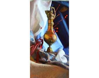 Original 24x12 Oil Painting Frankincense Impressionist Academic Oil Painting Art