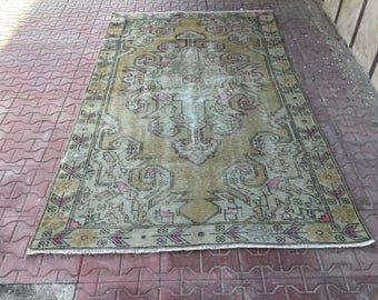 Vintage Rug,Cappadocia Carpet,Rugs,Vintage Turkish Rug,Home Office Rug,Designer Rug,Turkish Rug,Home Decor  7,08 ft x 4,29 ft, 216 x 131 cm