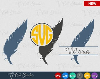 Feather Svg, Feather Monogram Svg, Feather Clipart, Bird Feathers svg, indian feather svg,