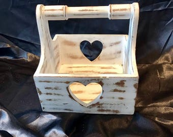 Shabby Chic 'White Heart' wooden box holder/carrier by 'Baroque N Roll'