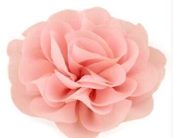 2 Peach Rose Flower Baby Girl Hair Clips 1 Pair