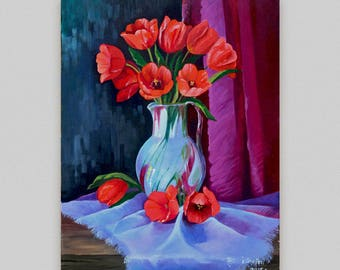 Original floral painting  Still life Flowers Oil painting Red tulip Vase and flowers Сanvas art Wall hang decor Realism Discount painting