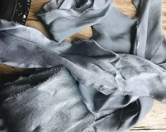 Storm Blue Hand Dyed Silk Ribbon
