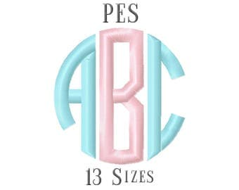 13 SIZE PES Fonts Circle Monogram Embroidery Fonts Embroidery Designs Embroidery Alphabets Letters Monogram Fonts - Instant Download
