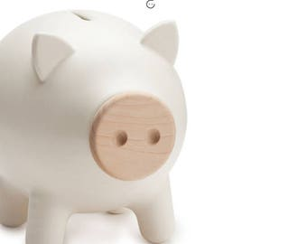 White matte piggy bank, ceramic piggy bank, large piggy bank, adult piggy bank, housewarming gift, office accessories, Wedding gift, PIGZ