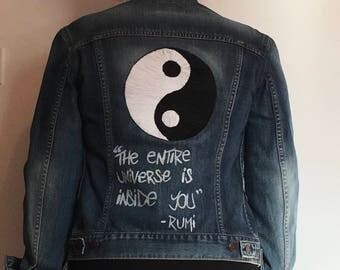 Button Bombed Denim Jacket with Yin Yan Detailing (Dizzee Kipling Inspired from The Get Down)