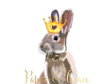 Bunny and crown  children room quote art  print 11'' x 13'' hand drawn print