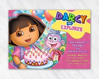 Dora The Explorer Invitation for Birthday Party - Printable Digital File