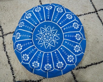 Handmade bright blue leather pouf with white embroidery Pouf - Int'l Express shipping - Unfilled