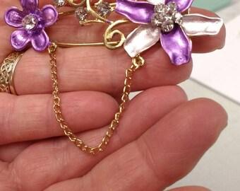 Purple Flower Broach on Kilt Pin