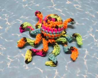 """Mini Octopus """"Neon Rainbow""""! Handmade crocheted catnip filled cat toy! Cole and Marmalade a-purr-oved =)"""
