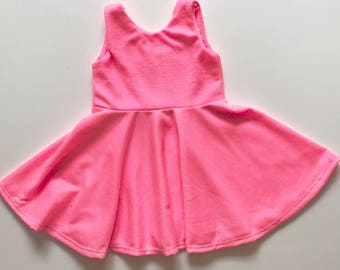 Hot Pink Twirl Dress fit and flare dress toddler girl baby girl dress