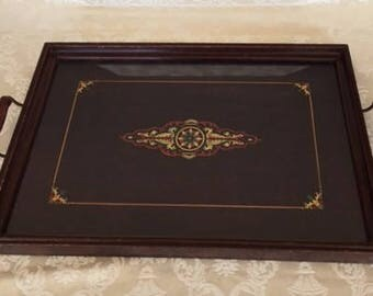 Vintage Tray Wood and Glass Serving Tray with Painted Design