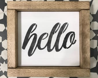 Hello Wood Sign-Rustic Decor-Rustic Wood Sign
