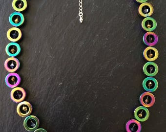 "16 1/2"" rainbow haematite and ab crystal bead necklace with 2 1/2 sterling silver extension chain"
