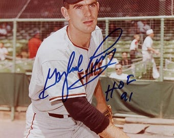 "Gaylor Perry signed 8x10 Giants Photo. Inscribed ""HOF 91"""
