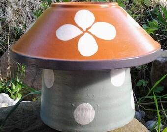 Hand-painted mushroom-shaped decorative object