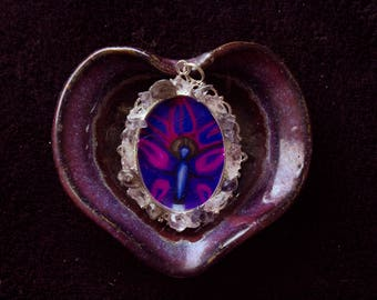60X45mm  Oval Silver Butterfly Crown Chakra Resin Pendent