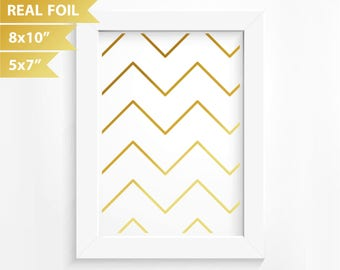 Geometric Gold Foil Print Wall Decor Diagonal Lines Zig Zag Pattern Modern Poster Print Real Foil Abstract Pattern - Rose Silver 8x10 5x7