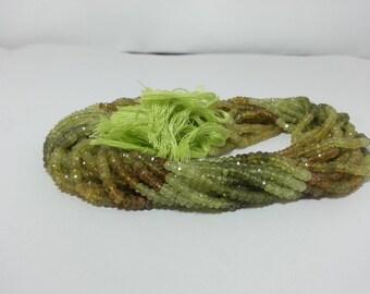 Natural Grossular Garnet Faceted Rondelle Beads, Green Garnet Beads, Faceted Garnet Beads Strand, Green Beads, Shaded Garnet Rondelle