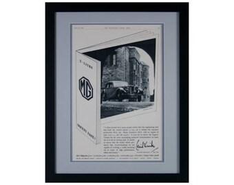MG Car Framed Vintage Advertisment