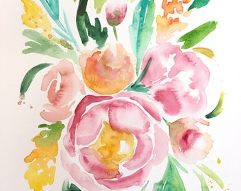 ORIGINAL  Spring Bouquet Watercolor