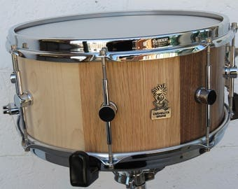 "14""x6.5"" Stave Snare, Snare Drums, Handmade Drums, Maple Snare Drums, Red Oak Snare Drum, American Walnut Snare Drums, Wooden Drums"