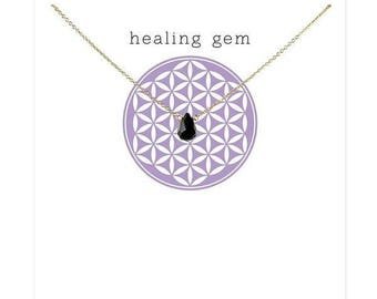 Handmade Silver Plated Healing Briolette Onyx Gem Necklace